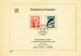 Czechoslovakia / First Day Sheet (1955/01) Praha 1 (c): I. Spartakiads In Czechoslovakia (sport, Ski Jumps)