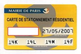 CARTE DE STATIONNEMENT RESIDENTIEL  Mairie De Paris - Cartes De Stationnement, PIAF