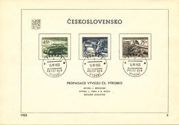 Czechoslovakia / First Day Sheet (1955/03) Praha 1 (c): Czechoslovak Products - Automobile, Jet Loom, Machine Tool