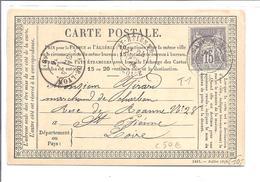 """FRANCE """"sage""""  15ctm T1 Seul Sur """"carte Postale"""" 1876 Envoyée à St.Etienne"""