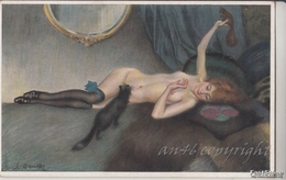 """NU_NUE_NUS_NUDE_NAKED WOMAN-NUDI ARTISTICI-""""La Femme"""" S.BENDER Pinxit-Serie N°1222 -Original D'epoca 100% - Malerei & Gemälde"""
