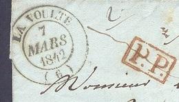 ARDECHE 07 LA VOULTE LAC TAD Type 14 Du 07/03/1842  PP  Taxe 3 Verso SUP
