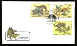 Azerbaijan, Scott Cat. 446-452, 453. Dinosaurs Set & S/sheet , FDC