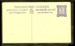 TRAVANCORE-COCHIN ANCHAL CARD(POSTCARD) 4 PIES BLUE MINT !!