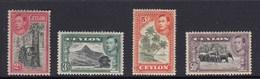 Ceylon 1938 Definitives 4 MUH - Rubber Tree, Elephants, Mountain & Palm Trees