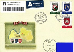 Latvia Lettland Lettonie 2017 (01) Coat Of Arms - Districts Of Olaine, Roja, Malpils (addressed FDC)