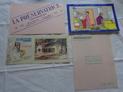 4 Buvards -librairie Joseph Gibert-assurance-pleins Feu Sur Le Confort Electrique Bellus-flan Lyonnais N°24 - Buvards, Protège-cahiers Illustrés