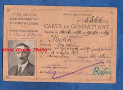 Carte Du Combattant - LA GUERCHE De BRETAGNE - Jean Marie BETIN Né à Domalain - Fait à Rennes En 1934 - Poilu Ww1 - Vieux Papiers