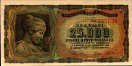 GRECE  25000 DRACHME  Du 12-8-1943  Pick 123  AU/SPL - Greece
