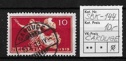 1919 FRIEDENSMARKEN → SBK-144, CAROUGE 16.X.19 - Gebraucht