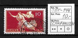 1919 FRIEDENSMARKEN → SBK-144, SCHAFFHAUSEN 5.VIII.19 - Gebraucht