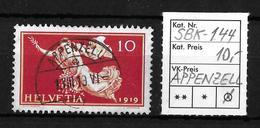 1919 FRIEDENSMARKEN → SBK-144, APPENZELL 1.VIII.19 - Gebraucht