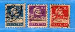 SUISSE ° - 1932-33 /Buste De Tell - Zum.160z-174z-184z / Mi169z-206z-204z.  Cat. Zum. 2016  € 11,00.    Vedi Descri