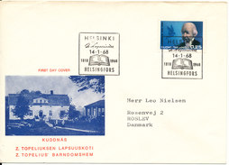 Finland FDC 14-1-1968 Topelius With Cachet And Sent To Denmark - Finnland