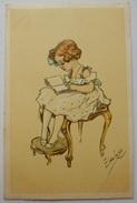 CARTE POSTALE CPA 1918 ILLUSTRATEUR ENFANT LISEUSE FILLETTE - Ilustradores & Fotógrafos