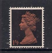 GB 1967 - 70 QE2 1/- 9d Orange & Black Machin Umm SG 744 ( L342 )