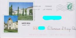 PAP Beaujard Lettre Verte Repiqué: Sainte Croix (46): église - Château De Lastours :AyantVoyagé