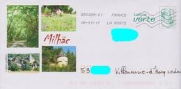 PAP Ciappa Lettre Verte Repiqué: Milhac (46): Château - Village :AyantVoyagé