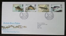 GRANDE-BRETAGNE - FDC 1983 - YT N°1067 à 1070 - Poissons Des Rivières / Faune