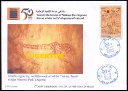 ALGERIA 2013 - FDC - Giraffes Girafes Giraffen Prehistory Rupestry - Tassili Girafe Giraffe Jirafa Jirafas Fauna Animals - Giraffe