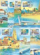 HUNGARY - 1985. Maximum Card Cpl.Set II- Danube Bridges / Budapest,Vienna,Linz  Mi:3733-3739.