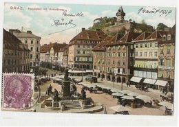 AUSTRIA - GRAZ - HAUPIPLATZ MIT SCHLOUBERG - EDIT S. FRANK - 1909 ( 1143 ) - Cartes Postales