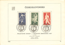 Czechoslovakia / First Day Sheet (1955/11) Praha (1h):  I. Spartakiads In Czechoslovakia (sport, Dance ...)
