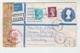 1978 GB Stamps UPRATED 69p REGISTERED Postal STATIONERY With 'OPENED BY CUSTOMS' SEAL LABEL Cover Carmathen To GERMANY