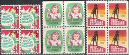 """USA 1949 """"Help Crippled Children"""" 3Bl Of 4v Quality:100%"""