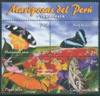 Peru 2005 Butterflies 4v+tab, (Mint NH), Nature - Butterflies