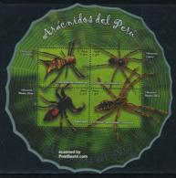 Peru 2008 Spiders S/s, (Mint NH), Nature - Animals (others & Mixed) - Insects