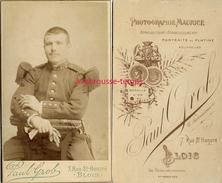 CDV Vers 1893-soldat Du 113e Régiment-photo Paul Grob 7 Rue Saint Honoré à Blois-portraits Au Platine - War, Military