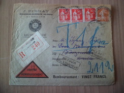 Recommandé Mulhouse 03/11/1934 N°235; 283x3 Pour Bouzonville Le 04/11 Réfusée Et Retour Mulhouse 06/11 Taxée à  1Fr.  TB - 1960-.... Briefe & Dokumente
