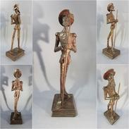 * STATUE DON QUICHOTTE AU LIVRE # Sculpture Cervantes Souvenir Espagne Art Populaire Littérature Livre Sancho - Wood