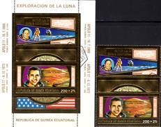 Raumfahrt 1969 Apollo 11+17 Äquatorial-G.232/3+Block 66 O 30€ Astronauten Blocs Gold Space Sheets Bf Ecuator.Africa - Guinée Equatoriale