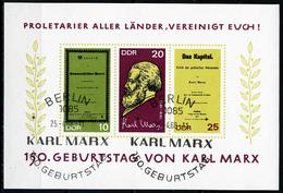 DDR - Michel Block 27 = 1365 B / 1367 B - OO Gestempelt (A) - Karl Marx