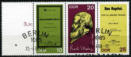 A11-31-7) DDR - Michel 1365 A / 1367 A = WZd 195L Mit Leerfeld - OO Gestempelt - Karl Marx