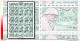 Rwanda 0714**  30c  Schweitzer Journée Des Lépreux  - Feuille / Sheet De 50 MNH