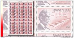 Rwanda 0713**  20c  Schweitzer Journée Des Lépreux  - Feuille  / Sheet De 50 MNH