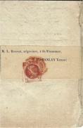 1872- Circulaire Prix Des Céréales , Sous Bande  Affr. N° 51 SEUL  Oblit. Cad  Rouge Des Imprimés - Marcophilie (Lettres)