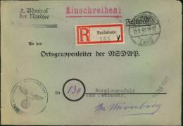 "1945, Feldpost-Einschreiben """"2. Admiral Der Nordsee"""" Ab BUXTEHUDE An """"Ortsgruppenleiter Der NSDAP"""" In Burglengenfeld - Germania"