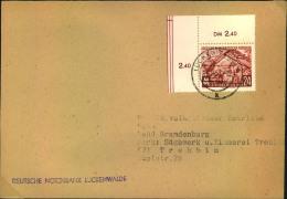 1953, 24 Pfg. Messe, Luxux-Bogenecke Mit Schneidemarkierung Auf Fernbrief Ab LUCKENWALDE. - DDR