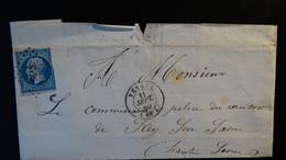France - Lettre Enveloppe - 20c Bleu Napoléon III Non Dentelé - Année 1860 - Marcophilie (Lettres)