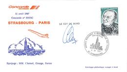 Lettre Philatélique Aérienne  Concorde  Vol Strasbourg Paris 11.04.. 1987 Air France Signée Du Commandant - Poste Aérienne