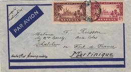 LETTRE SENEGAL.  PAR AVION JUSQU'A DESTINATION.   POUR SCHOELCHER MARTINIQUE - Storia Postale