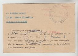 CPSM PERIGUEUX (Dordogne) - Convocation Au Centre De Contrôle De La Main D'Oeuvre 13 Juin 1944 - Périgueux