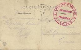 """1916- WWI  -C P A De Champlan ( Yvelines ) En F M """" Artillerie 6è Secteur *9è R.A.P.  93è Bu -dét. De Palaiseau - Storia Postale"""