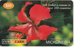 MICRONESIA - Flower, FSM Tel Prepaid Card $20, Used