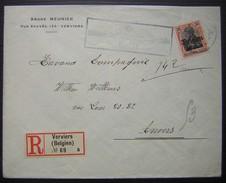 1917  Lettre Recommandée De Verviers André Meunier Timbre Allemand Deutsches Reich , Cachet De Contrôle Militaire - Postmark Collection