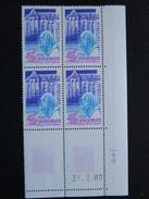 France. Coin Daté 31/07/1980. YT. 2112 **. Abbaye Saint-Pierre De Solesmes. Sarthe.